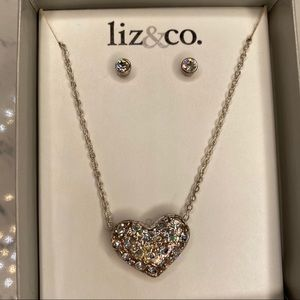 Liz & Co Heart Pendant Necklace and Earrings